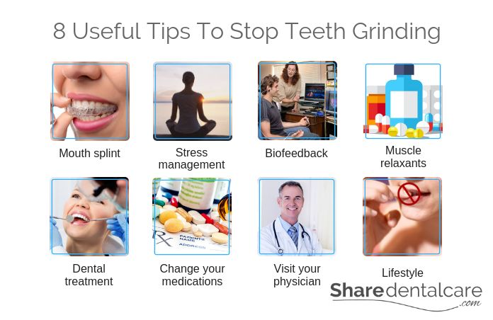 How to Stop Grinding Teeth? 1. Mouth splint 2. Stress management 3. Biofeedback 4. Muscle relaxant 5. Dental treatment 6. change your medications 7. visit your physician 8. Lifestyle & home remedies.